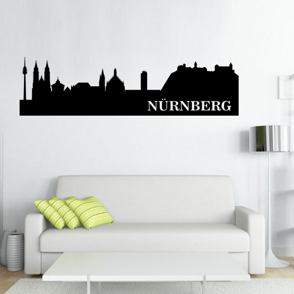 wandmotiv24 wandtattoo n rnberg skyline nr 626. Black Bedroom Furniture Sets. Home Design Ideas