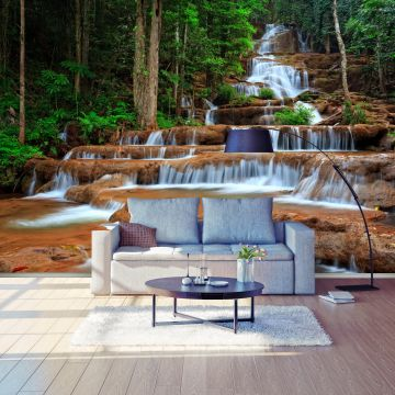 wandmotiv24 fototapete wasserfall im wald thailand landschaft fototapeten g nstig kaufen. Black Bedroom Furniture Sets. Home Design Ideas