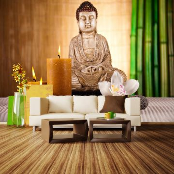 wandmotiv24 fototapete buddha mit kerze lebendige farben fototapeten fototapeten g nstig kaufen. Black Bedroom Furniture Sets. Home Design Ideas
