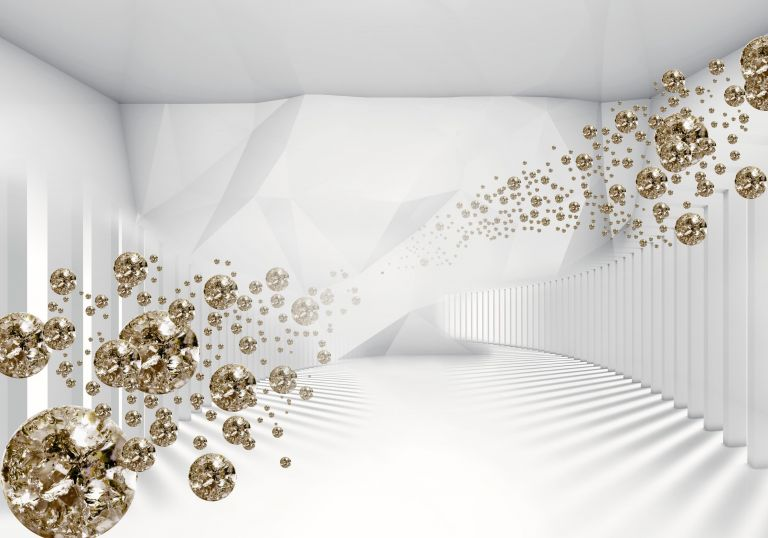 Wandmotiv24 | Fototapete Diamanten Raum Weiss 3D Gold Diamant Tapete ...