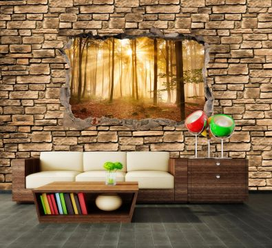 wandmotiv24 fototapete 3d wald am morgen steinmauer 3d motive fototapeten g nstig kaufen. Black Bedroom Furniture Sets. Home Design Ideas