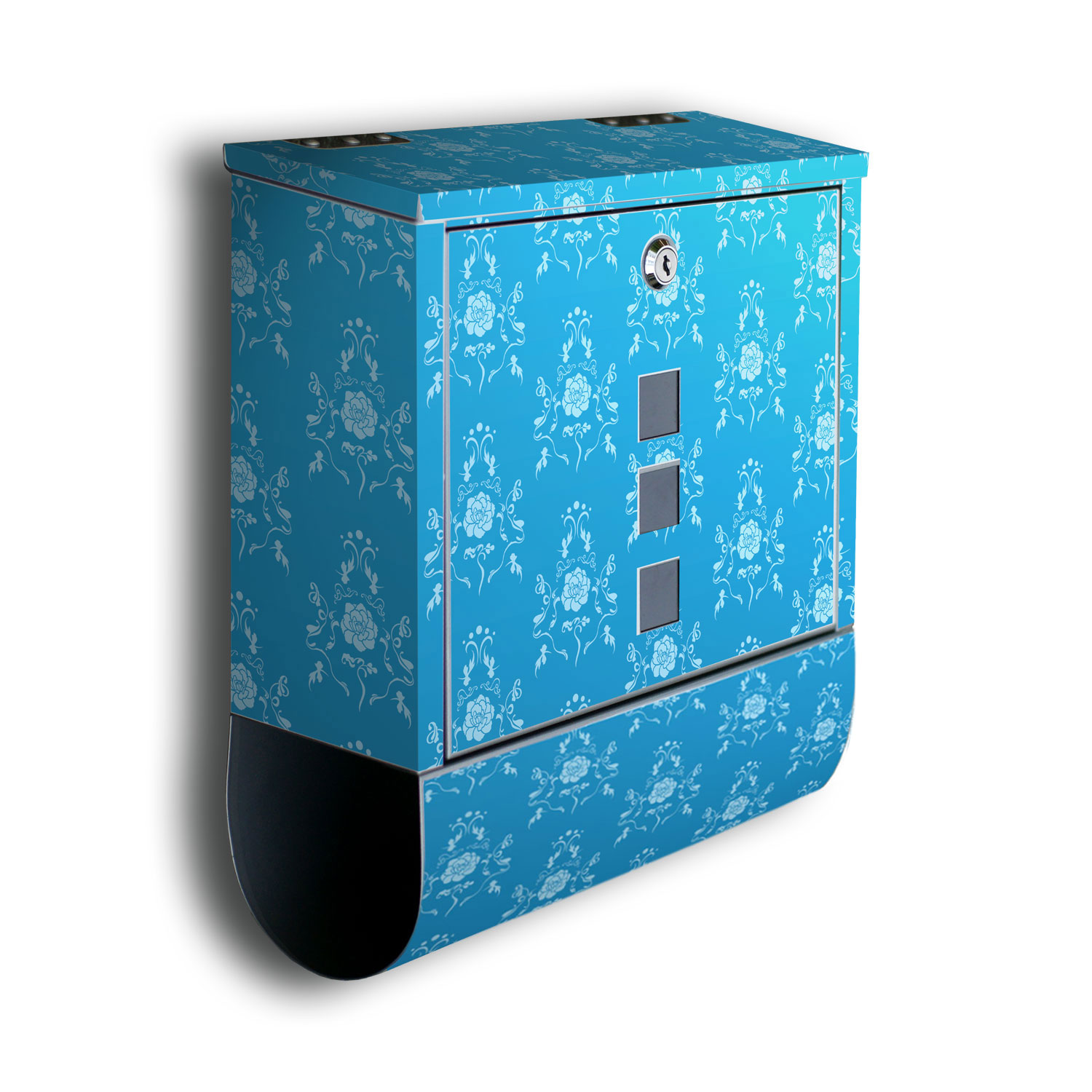 wandmotiv24 briefkasten barockmuster blau mit. Black Bedroom Furniture Sets. Home Design Ideas