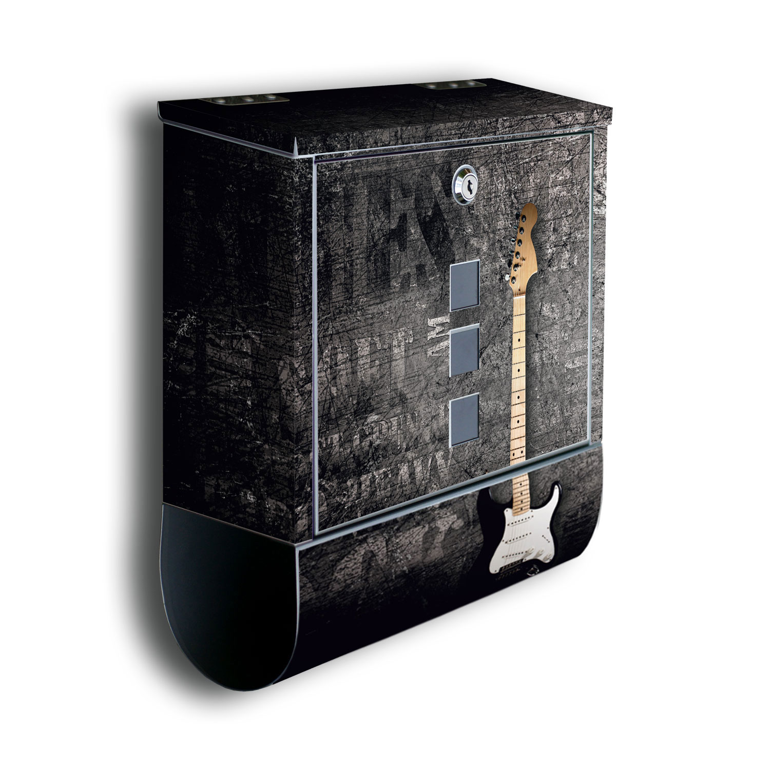 wandmotiv24 briefkasten e gitarre mit zeitungsrolle mit motiv briefk sten fototapeten. Black Bedroom Furniture Sets. Home Design Ideas