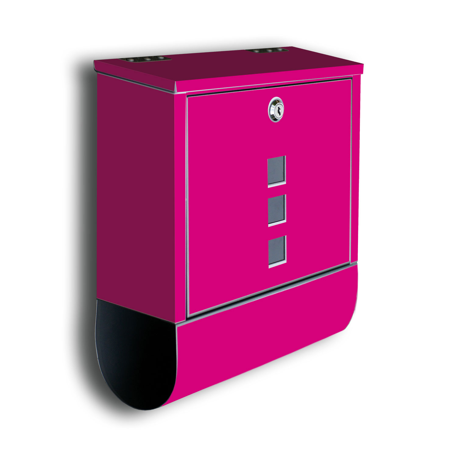 wandmotiv24 briefkasten uni pink mit zeitungsrolle. Black Bedroom Furniture Sets. Home Design Ideas