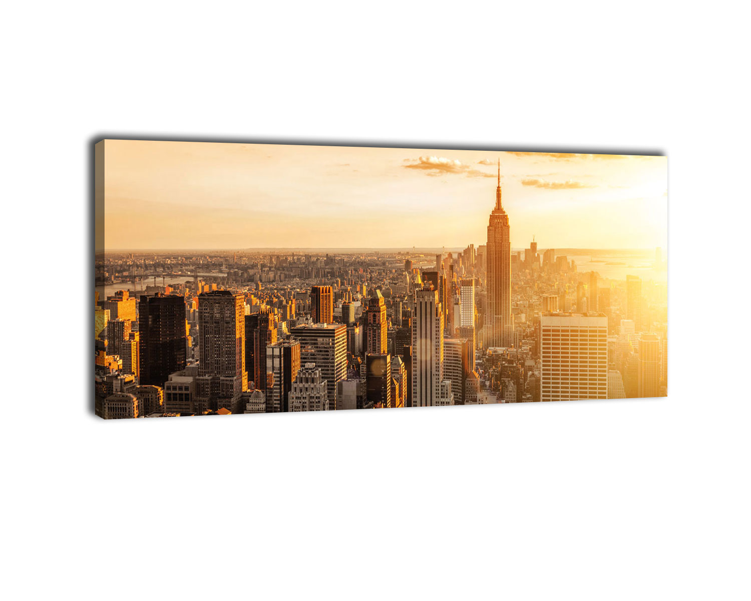 wandmotiv24 leinwandbild new york big apple manhattan amerika panorama 100cm x 40cm. Black Bedroom Furniture Sets. Home Design Ideas