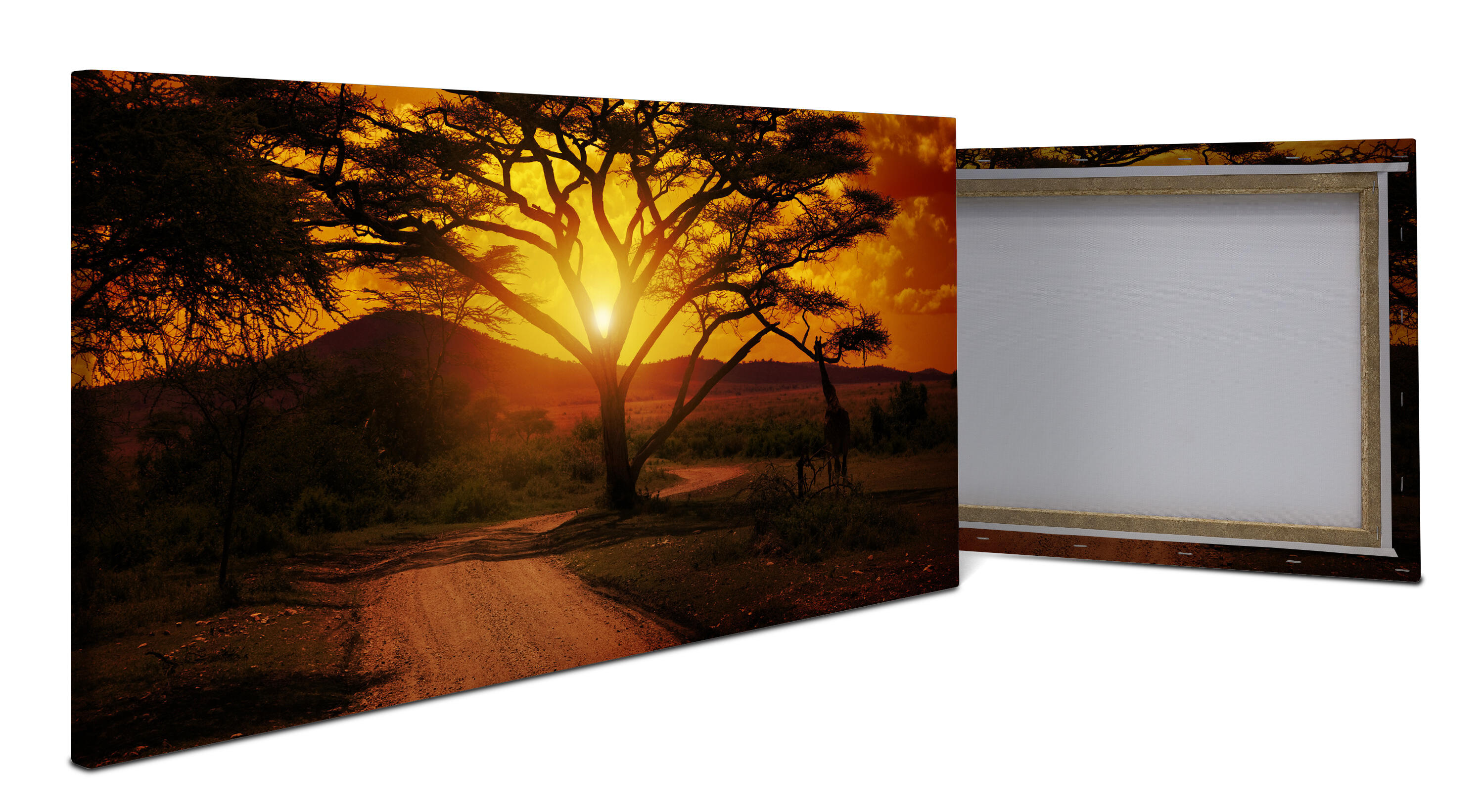 wandmotiv24 leinwandbild afrika sonnenuntergang panoramabild kunstdrucke m0001 landschaft. Black Bedroom Furniture Sets. Home Design Ideas