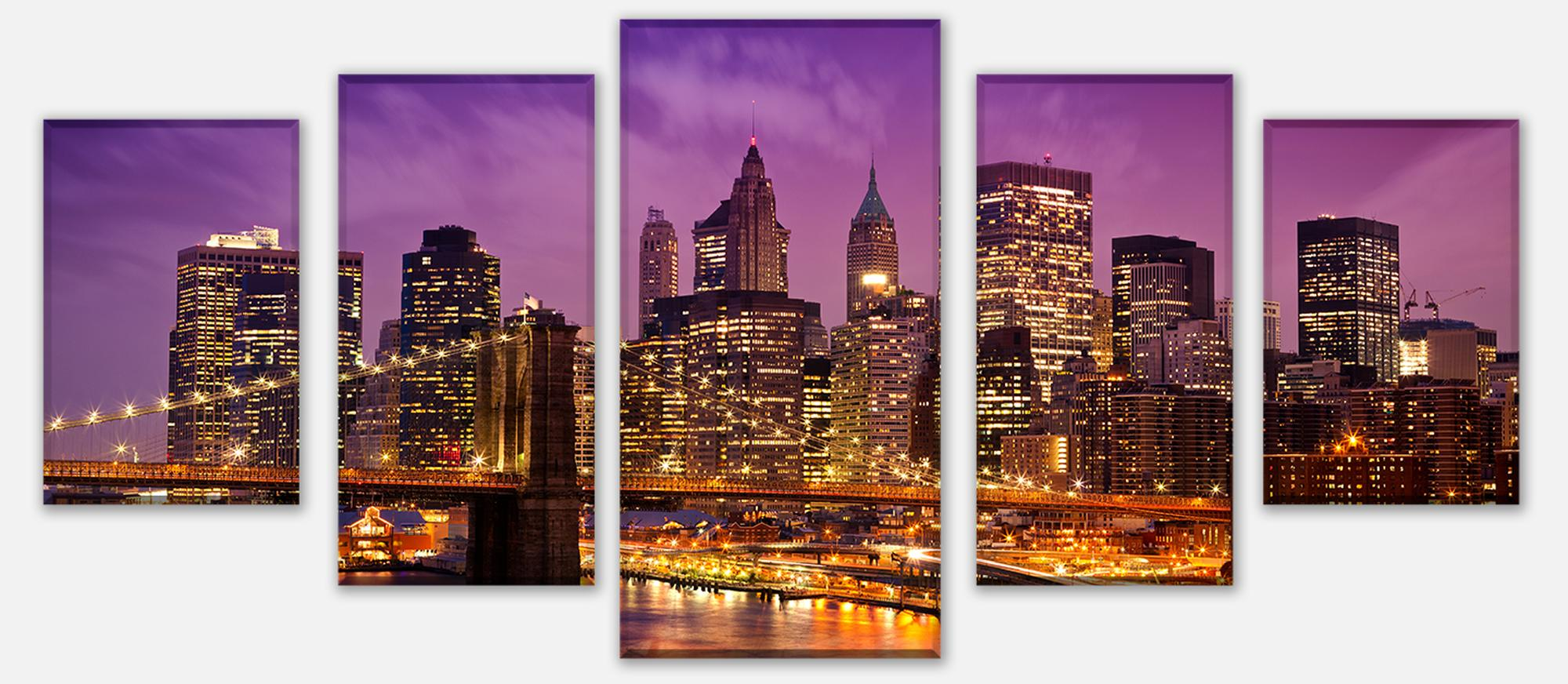 wandmotiv24 leinwandbild mehrteilig new york bei nacht m0178 st dte fototapeten g nstig kaufen. Black Bedroom Furniture Sets. Home Design Ideas