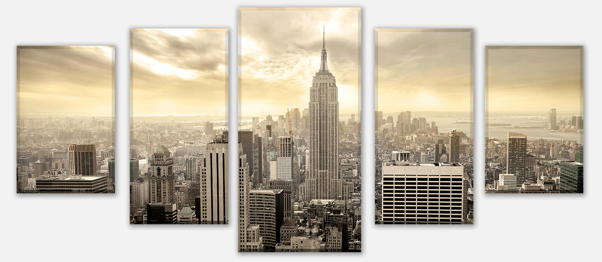 wandmotiv24 leinwandbild mehrteilig new york skyline view m0221 st dte fototapeten g nstig. Black Bedroom Furniture Sets. Home Design Ideas