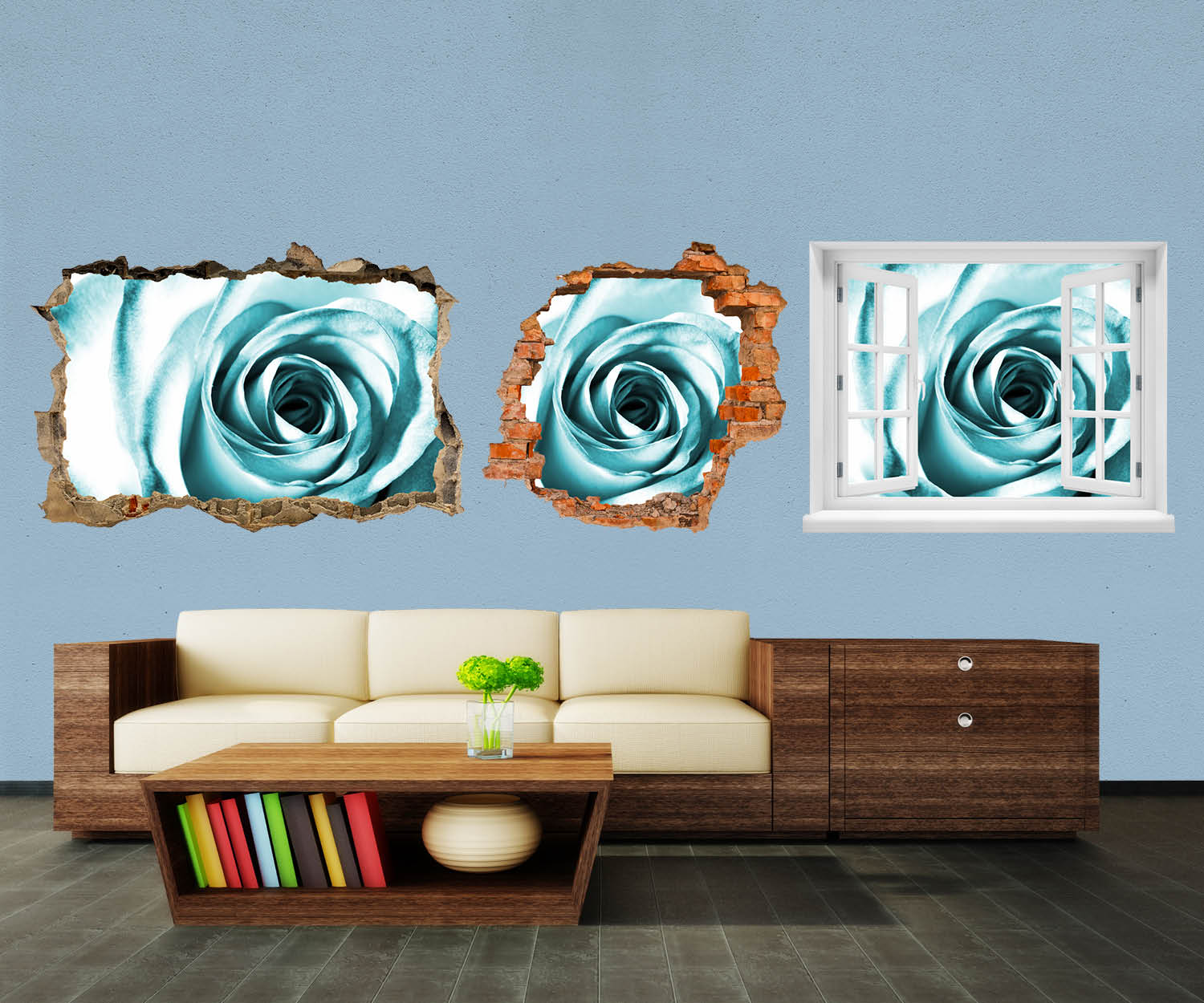 wandmotiv24 3d wandsticker blaue rose bl te aufkleber mauerdurchbruch m0227 3d wandsticker. Black Bedroom Furniture Sets. Home Design Ideas