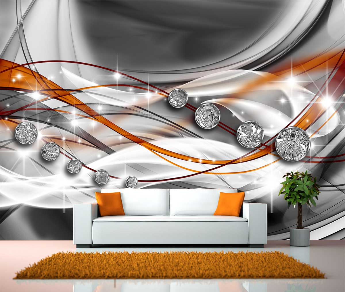 fototapete abstrakt diamant orange tapete xxl wandbild kleistertapete vliestapete. Black Bedroom Furniture Sets. Home Design Ideas