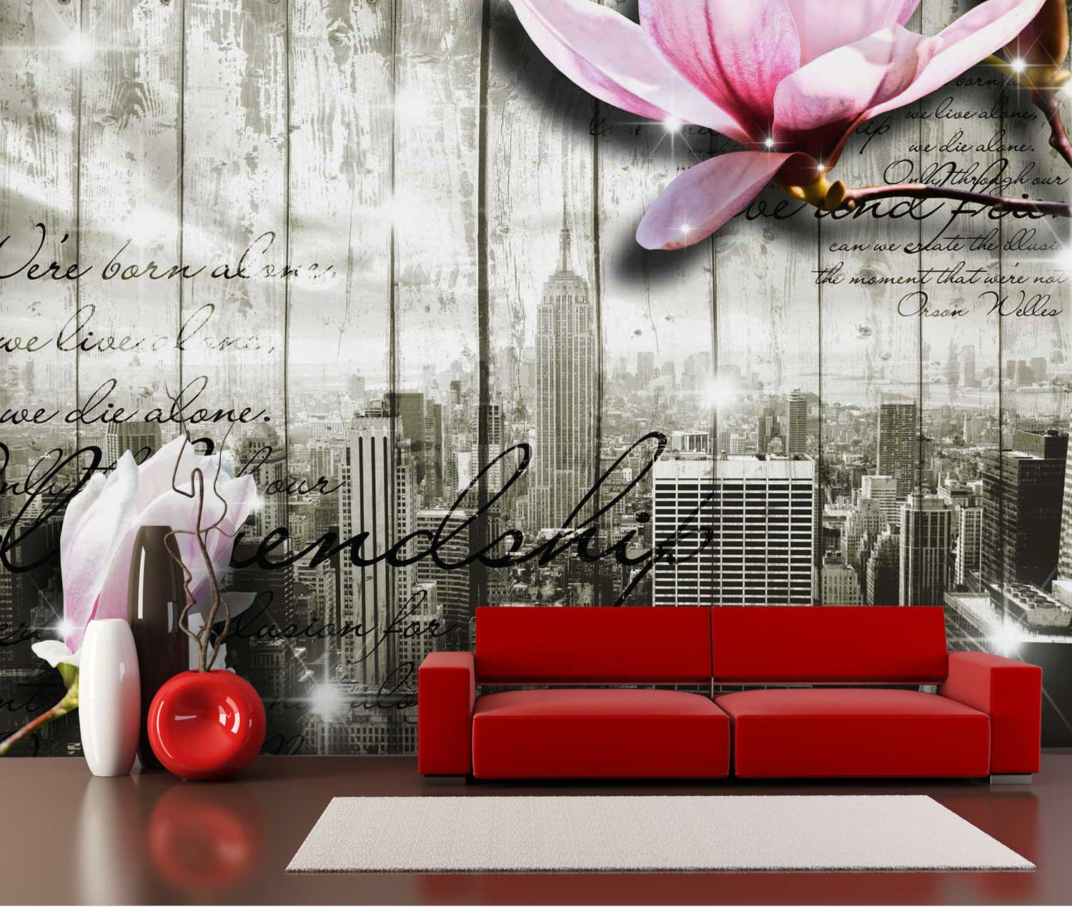 wandmotiv24 fototapete style new york bl ten tapete kunstdruck wandbild online bestellen. Black Bedroom Furniture Sets. Home Design Ideas