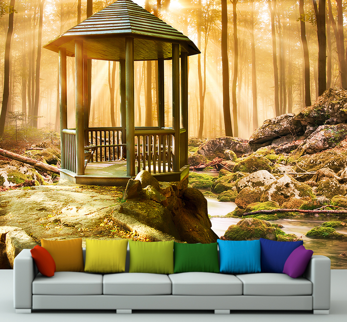 wandmotiv24 fototapete pavillon im wald tapete kunstdruck wandbild landschaft online bestellen. Black Bedroom Furniture Sets. Home Design Ideas