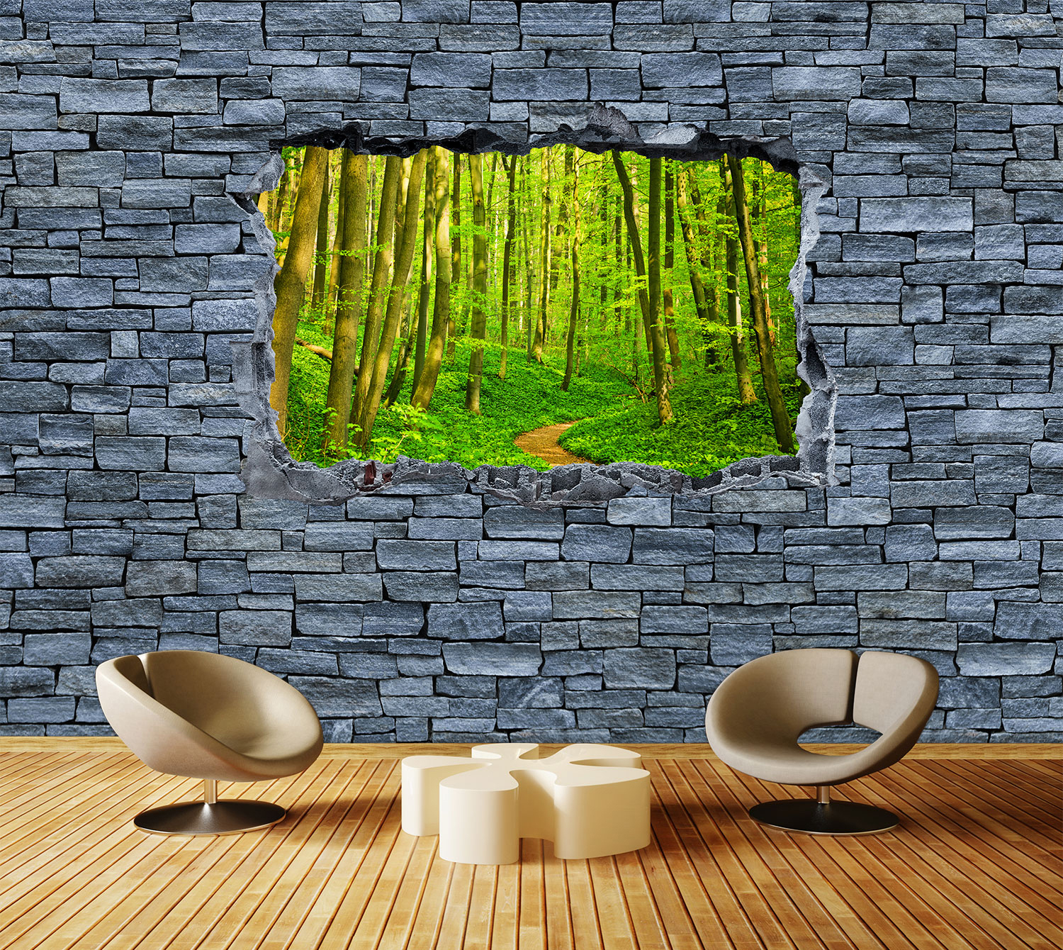 wandmotiv24 fototapete 3d optik weg im wald grobe steinmauer tapete kunstdruck wandbild 3d. Black Bedroom Furniture Sets. Home Design Ideas