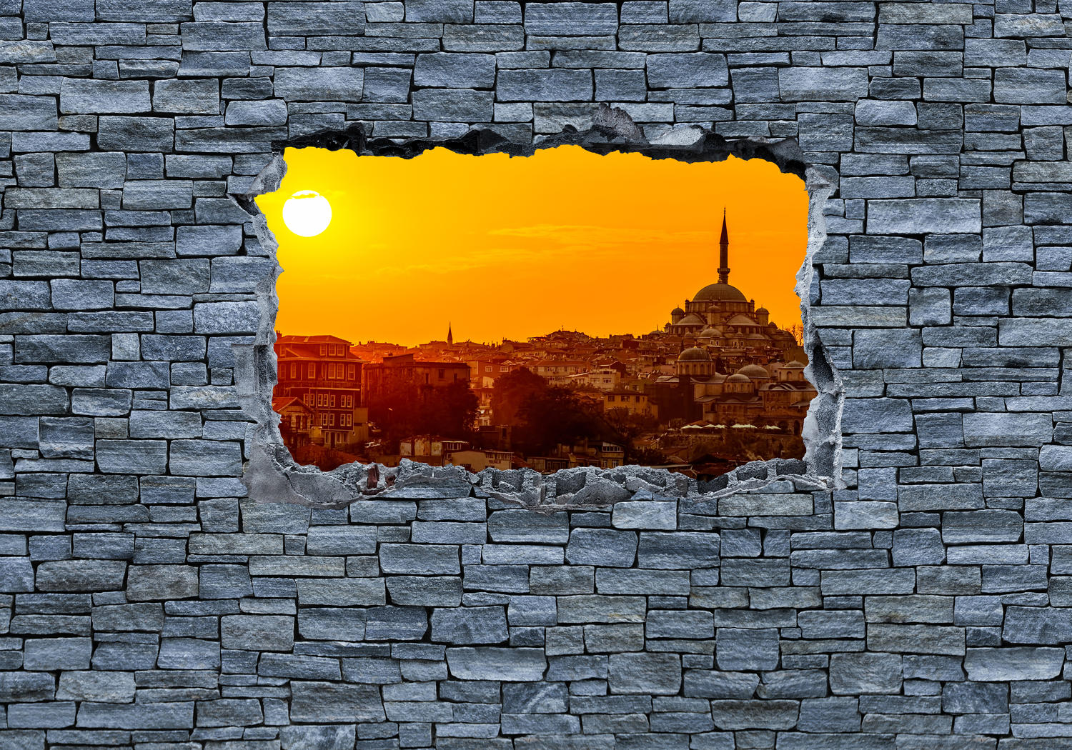 wandmotiv24 fototapete 3d sonnenuntergang istanbul. Black Bedroom Furniture Sets. Home Design Ideas
