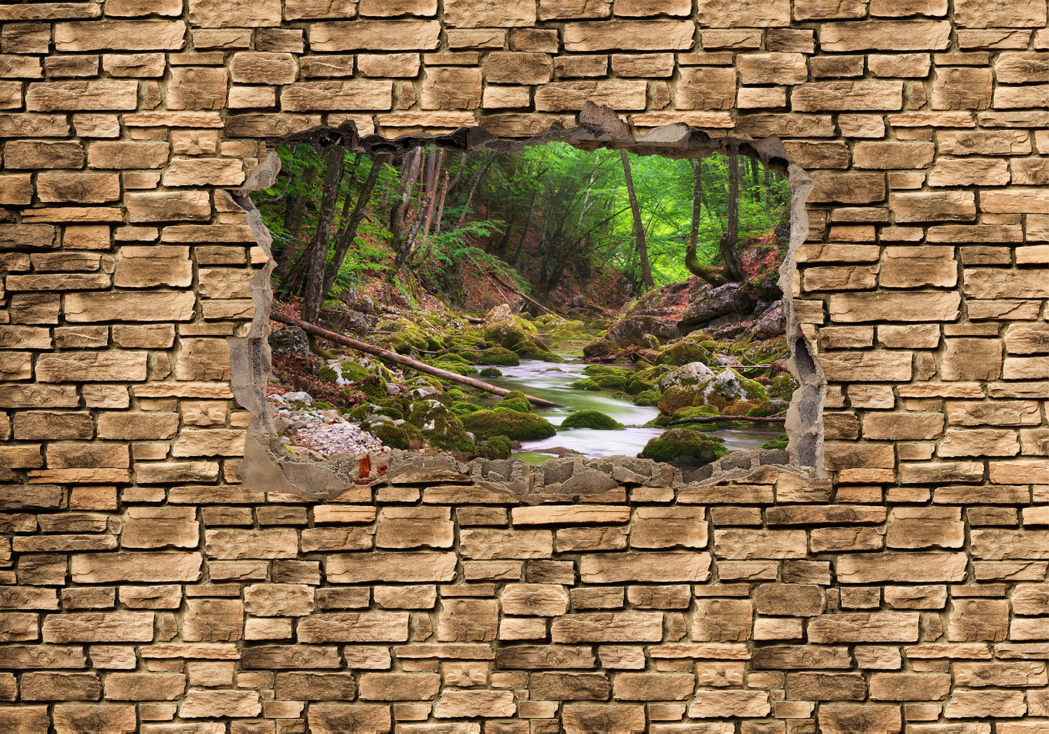 wandmotiv24 fototapete 3d fluss im wald steinmauer vlies tapete m0664 3d motive. Black Bedroom Furniture Sets. Home Design Ideas