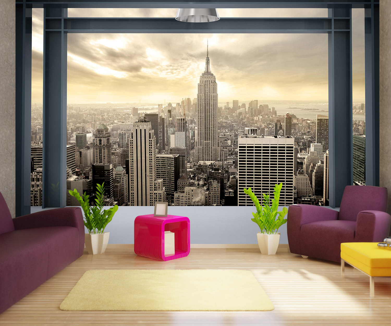 wandmotiv24 fototapete blick aus dem fenster von new york tapete kunstdruck wandbild. Black Bedroom Furniture Sets. Home Design Ideas