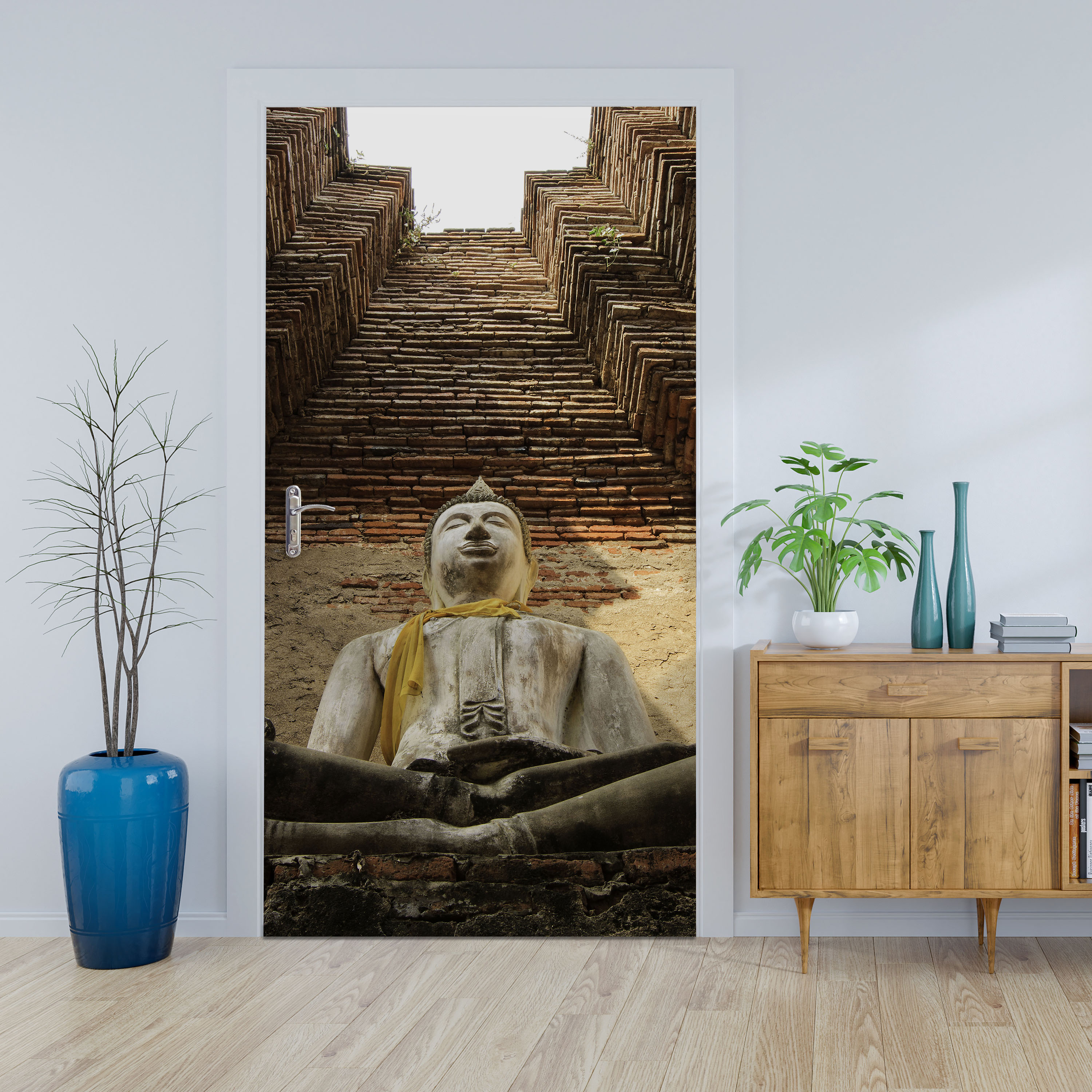 wandmotiv24 t rtapete eine gro e buddha statue tapete t r t raufkleber t rbild aufkleber. Black Bedroom Furniture Sets. Home Design Ideas