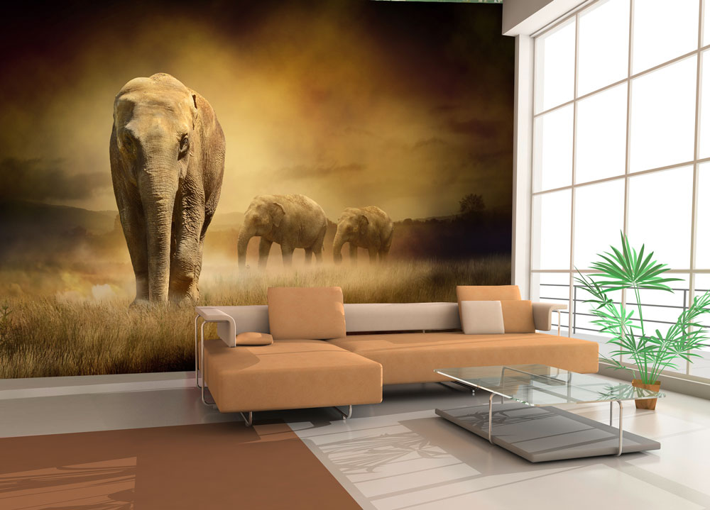 wandmotiv24 fototapete steppenelefant afrika tapete kunstdruck wandbild fototapeten online. Black Bedroom Furniture Sets. Home Design Ideas
