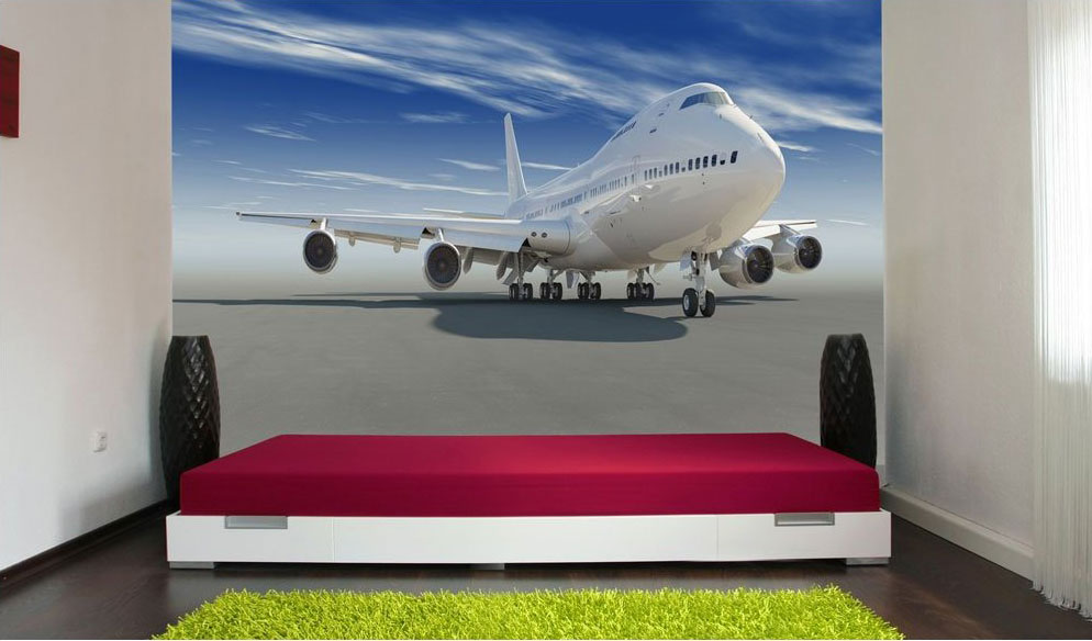 fototapete startendes flugzeug tapete xxl wandbild kleistertapete xxl 400x280 cm eur 10 99. Black Bedroom Furniture Sets. Home Design Ideas