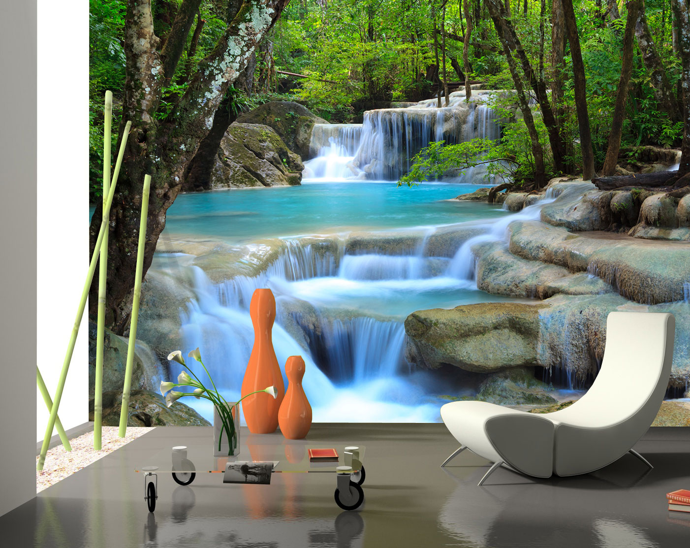 fototapete wasserfall im wald tapete xxl wandbild vliestapete ebay. Black Bedroom Furniture Sets. Home Design Ideas