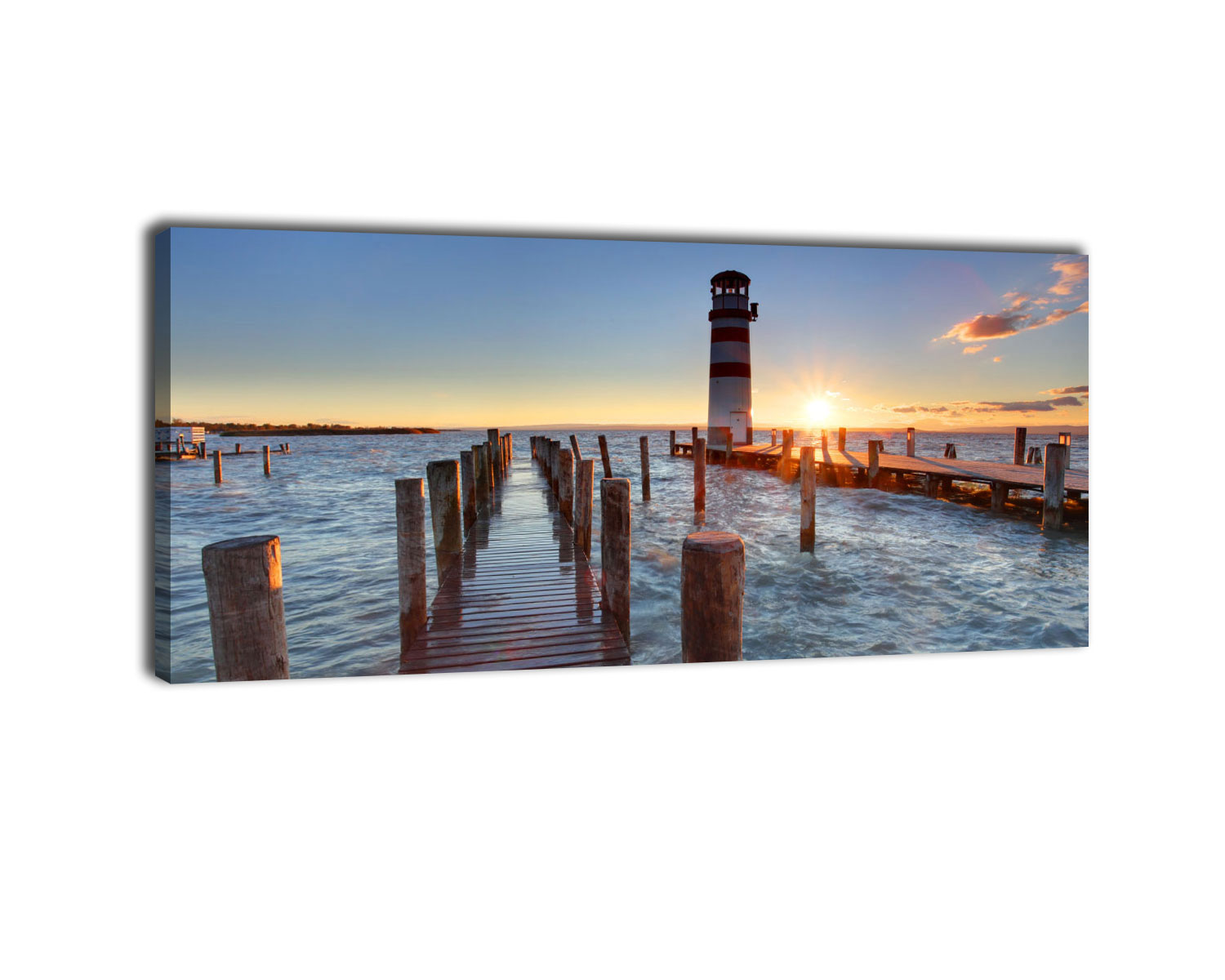 leinwandbild leuchtturm mit pier bild auf leinwand kunstdruck eur 9 95 picclick de. Black Bedroom Furniture Sets. Home Design Ideas