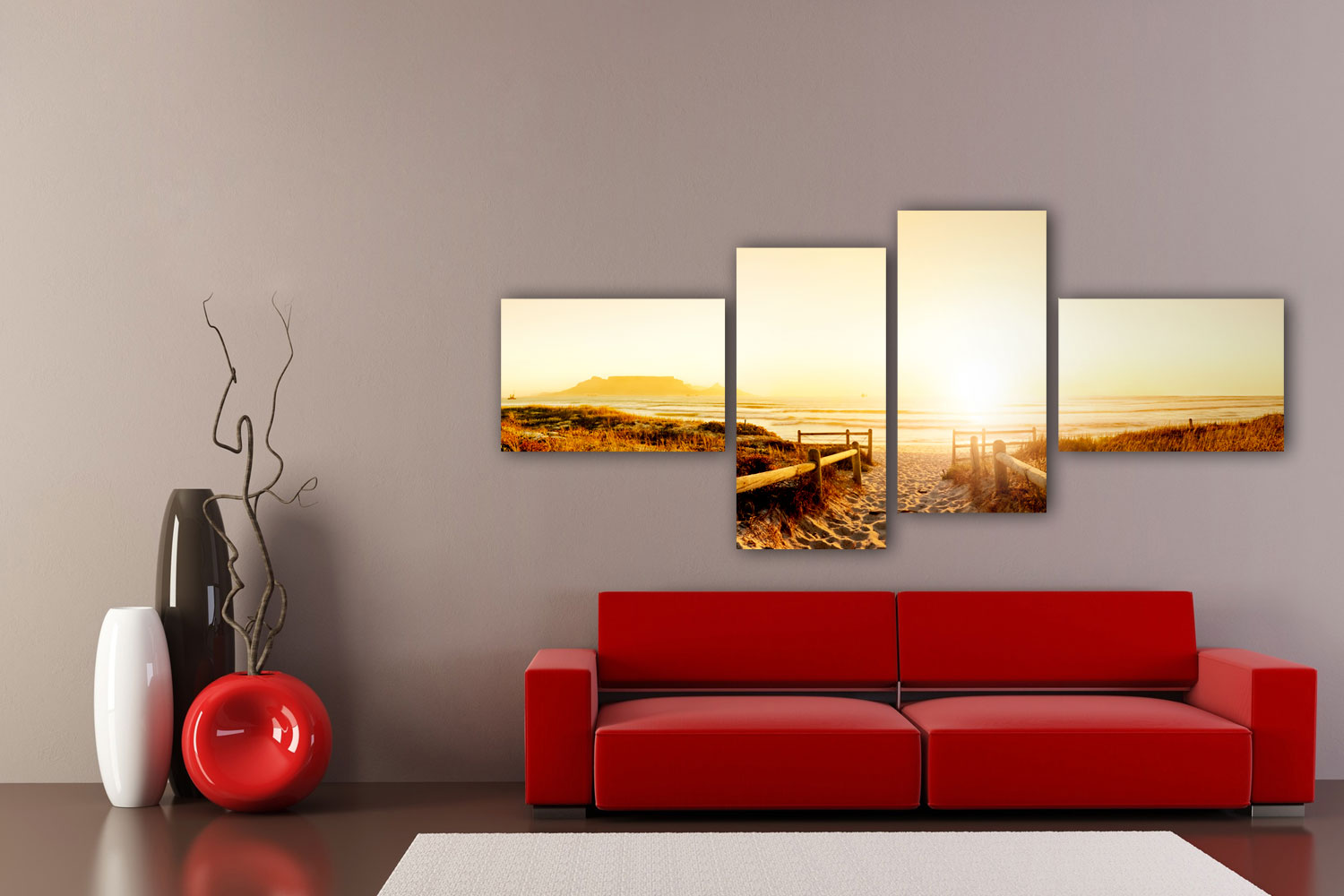 leinwandbild sonnenuntergang ozean bild auf leinwand kunstdruck ebay. Black Bedroom Furniture Sets. Home Design Ideas